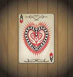 Ace hearts poker cards old look varnished wood vector
