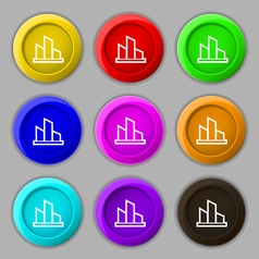 Diagram icon sign symbol on nine round colourful vector