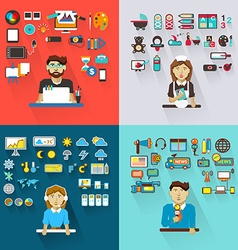 Set of professions graphic designer babysitter vector