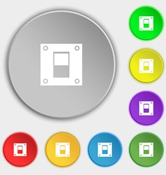 Power switch icon sign symbols on eight flat vector