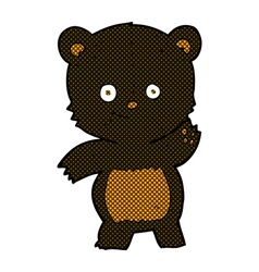 Comic cartoon waving black bear vector