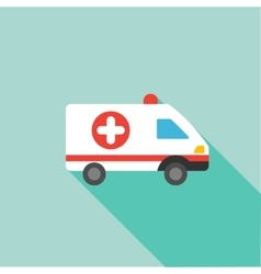 Ambulance flat long shadow square icon vector