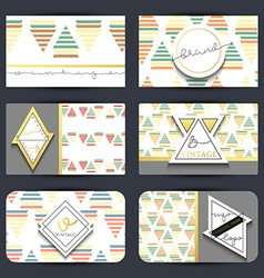 Vintage business card set retro cards with vector