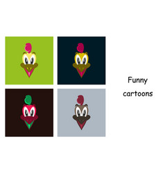 Assembly of flat icons on theme funny animals vector