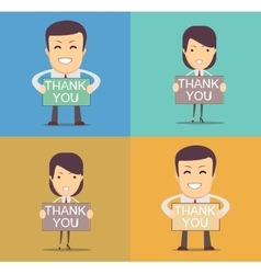 Businessman holding thank you sign vector image vector image