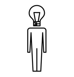 businessman with bulb head idea creativity vector image