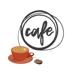 cafe round logo vector image