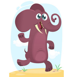 cartoon funny elephant dancing excited vector image vector image