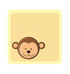 Colorful greeting card with picture monkey animal vector