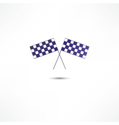 Crossed racing flags icon vector