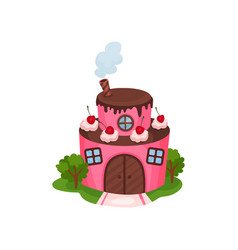 Cute pink house in form of two-tiered cake with vector