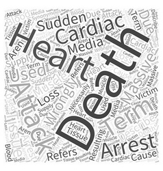 Death by cardiac arrest word cloud concept vector