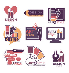 Design studio logo labels collection isolated on vector
