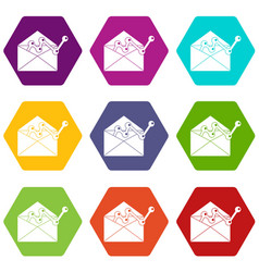 envellope with graph icon set color hexahedron vector image vector image