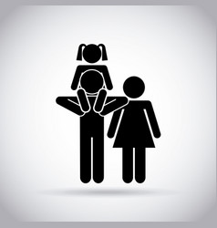 Family with little girl vector