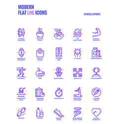 flat line gradient icons design-fitness and sports vector image vector image