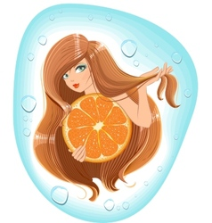 Girl with long hair holds an orange Template vector image vector image