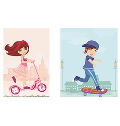 happy boy on a skateboard and girl on scooter vector image vector image