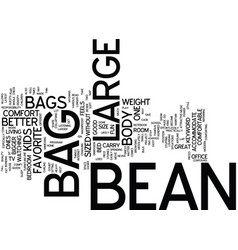 Large bean bag text background word cloud concept vector