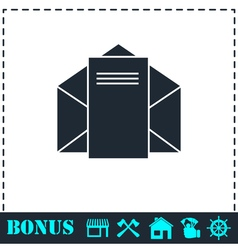 Mail letter icon flat vector