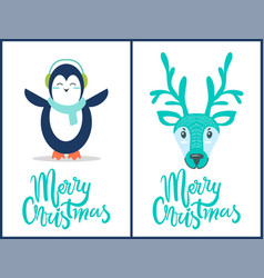 merry christmas penguin deer vector image