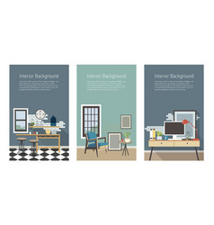 modern interior banners set kitchen living room vector image vector image
