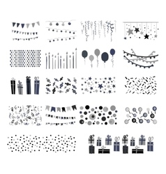 Party patterns set of hand drawn doodle vector