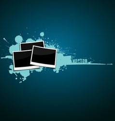 photo frames on blue ink background vector image vector image