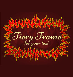 red fiery frame vector image vector image