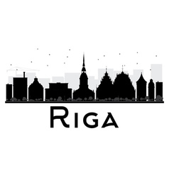 Riga city skyline black and white silhouette vector