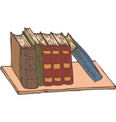 Row of books on a bookshelf vector