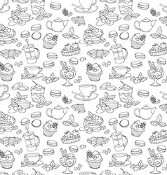 Seamless pattern fresh desserts with coffee tea vector image