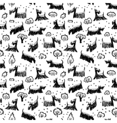 Seamless pattern with scotch terrier dog vector