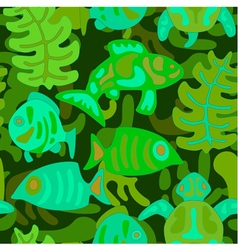 Seamless pattern with stylized tribal aquatic anim vector