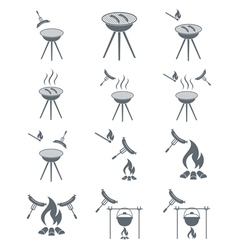 Set of 12 sausage camp coocking icons vector