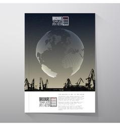 Shipyard harbor skyline night design world vector