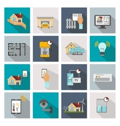 Smart house square icon set vector