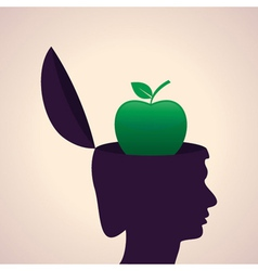 Thinking concept-human head with apple vector
