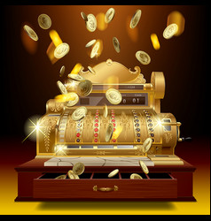 vintage cash register and money rain vector image