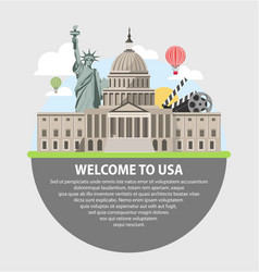welcome to usa promotional poster with famous vector image