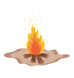 White background with wood fire in floor vector