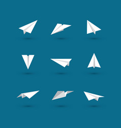 white paper plane icons vector image vector image