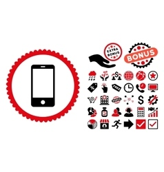 Smartphone flat icon with bonus vector