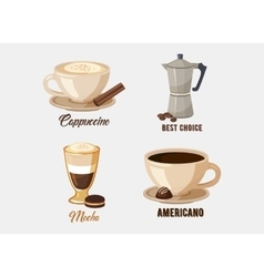 Cup of cappuccino coffee on saucer and coffee pot vector
