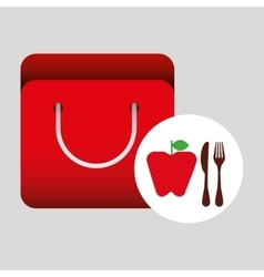 grocery bag apple nutrition fruit vector image