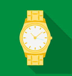 golden watch icon in flat style isolated on white vector image
