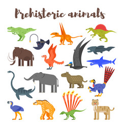 Colorful prehistoric dinosaurs and animals vector
