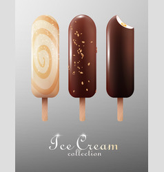 Realistic classic ice cream eskimo set vector