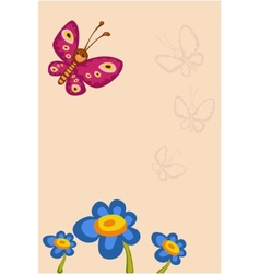 Frame with flower and butterfly vector