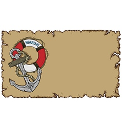 Marine theme old parchment with anchor vector